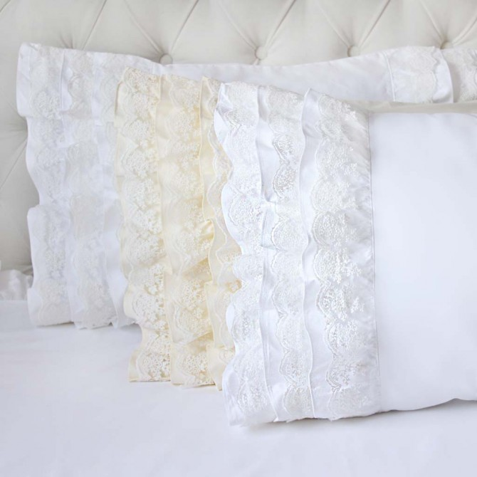 Lace Whisper Ruffle Pillow Sham