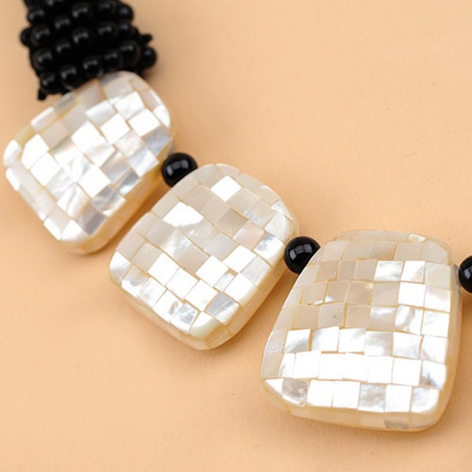 Mosaic Seashell Handmade Necklace,White