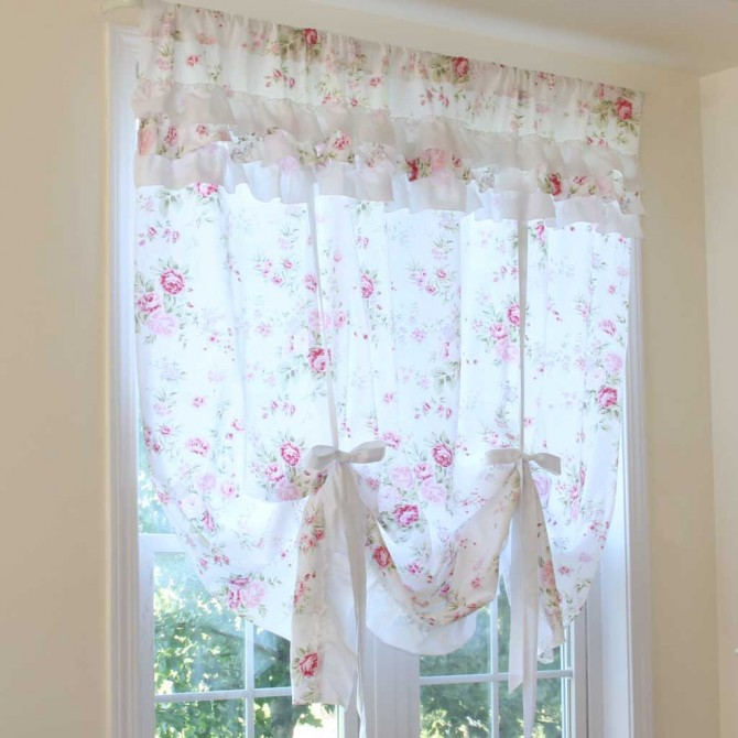 White Rose Romance Balloon Tie Up Curtain