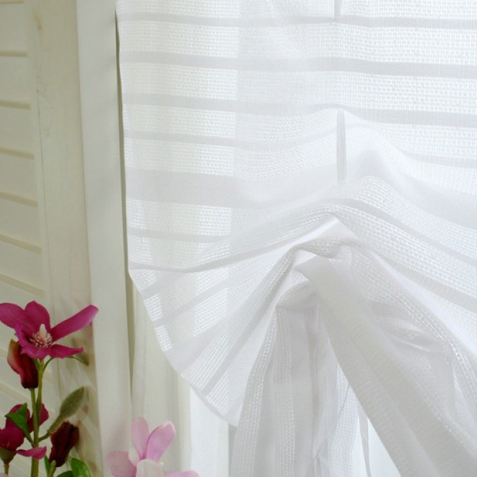 Simply Tie Up White Sheer Balloon Curtain Shade