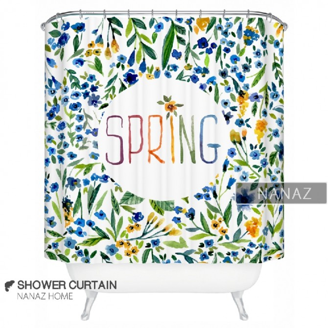 Blue Floral Spring Blossoms Shower Curtain