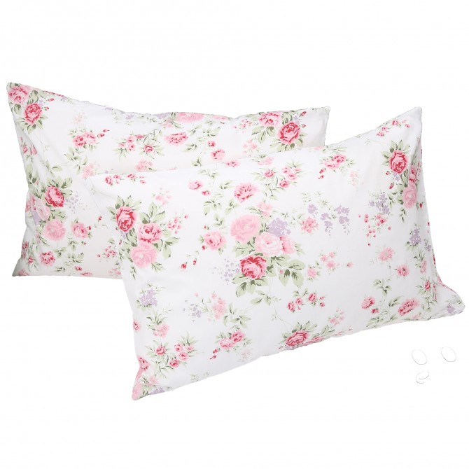 White Romance Rose Pillow Sham ( pair)
