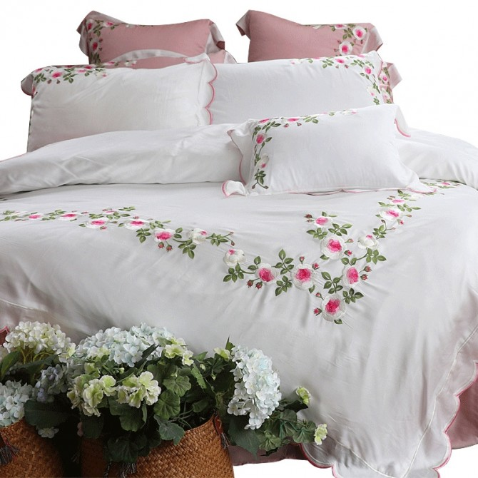Embroidery Rose Duvet Cover