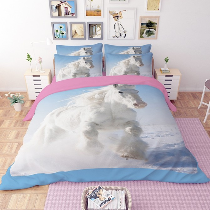 White Horse Duvet Cover Set