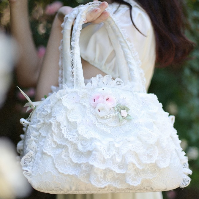 White Lace Ruffled Bag