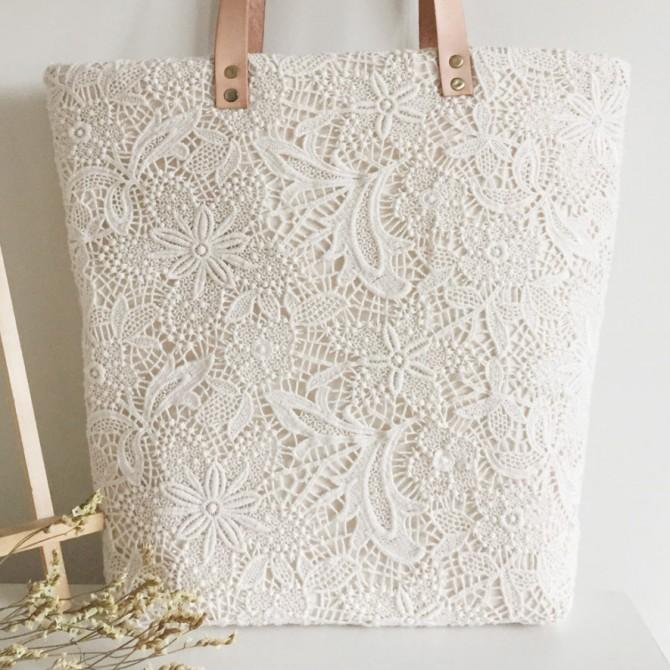 Handmade Cream White Embroidery Lace Tote Bag