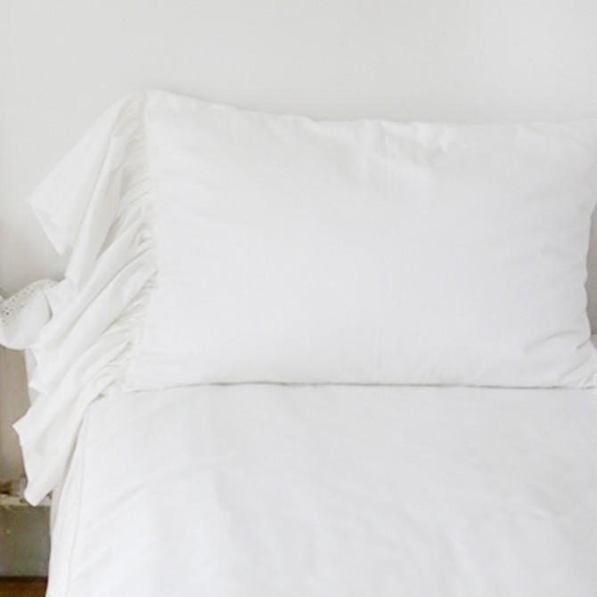 Mermaid Long Ruffle Duvet Cover Set-White
