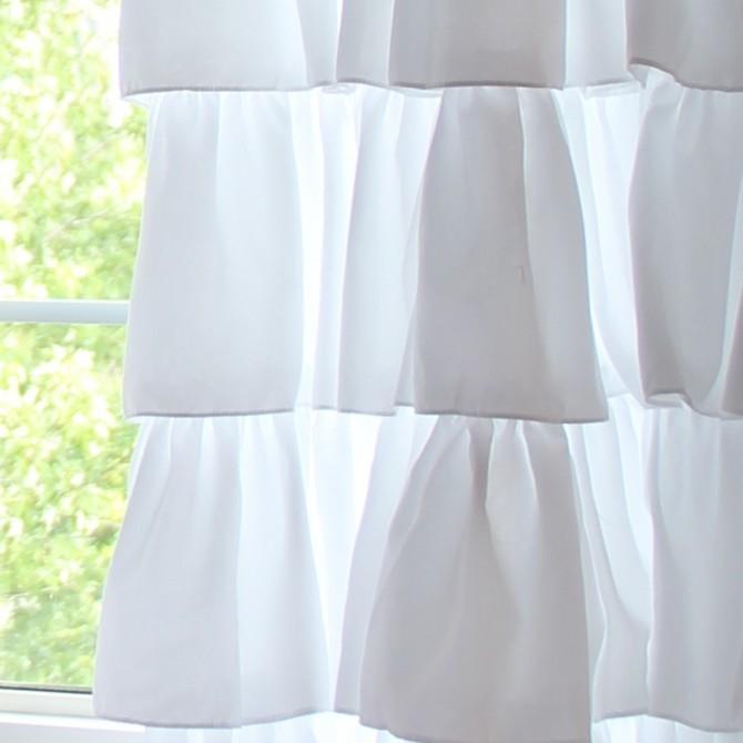 White Ruffle Shabby Curtain Panel