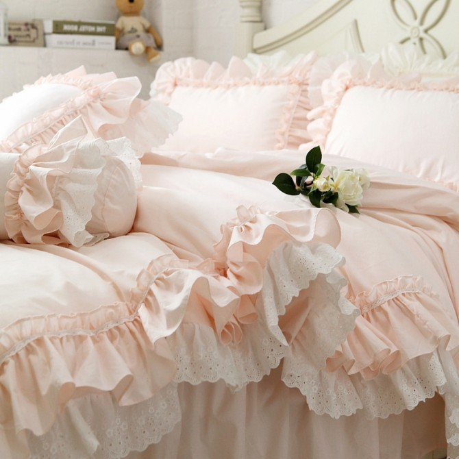 Double Ruffle Lace Duvet Cover Set