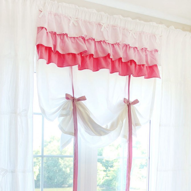 Shabby Chic Ribbon Tie Up Balloon Curtain