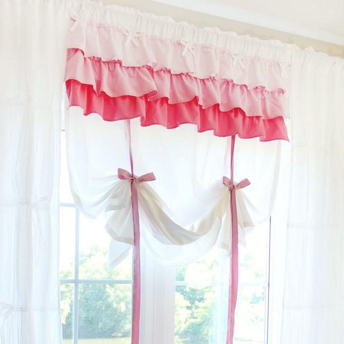 Shabby Chic Ribbon Tie Up Balloon Curtain