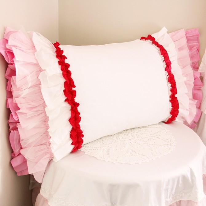 Pink White Gradient Sheer Ruffled Pillow Sham