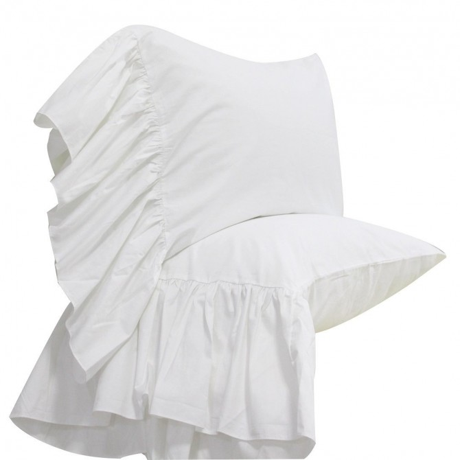 Mermaid Long Ruffle Pillowcase-White