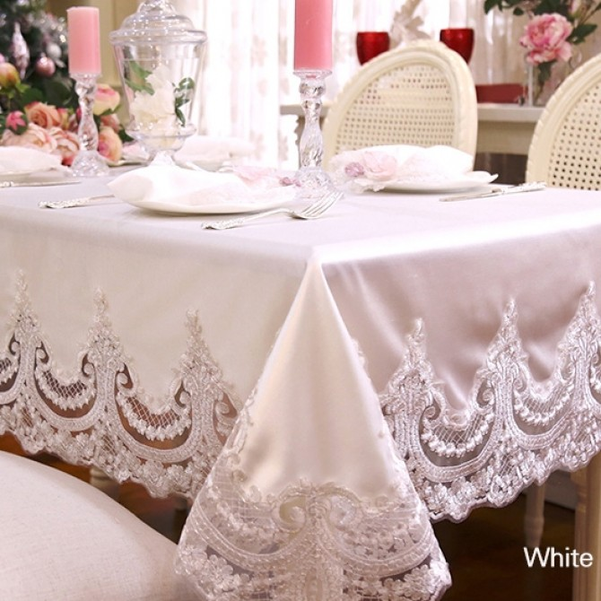 White Embroidery Lace Shabby Chic Tablecloth