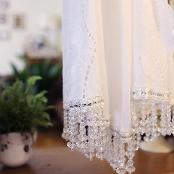 Luxury Embroidery Panel with Beaded Fringe Trim