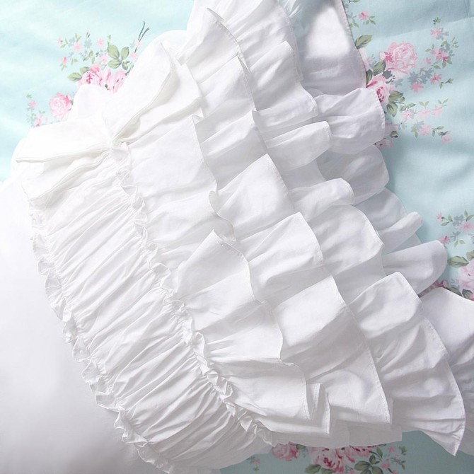 White Ruched Ruffle Pillow Sham