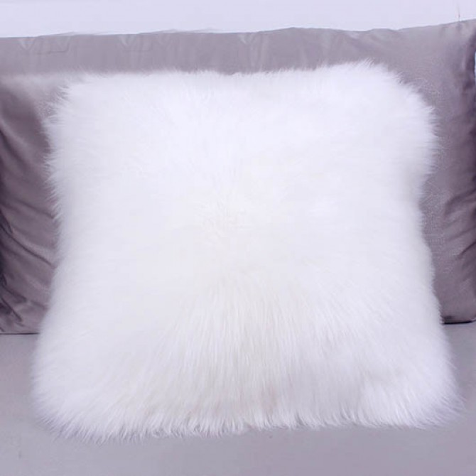 White Sheepskin Fur Wool Cushion Throw Pillow Cover