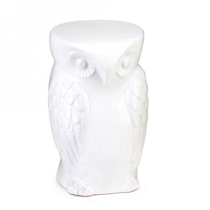 Wise Owl Ceramic Decorative Stool
