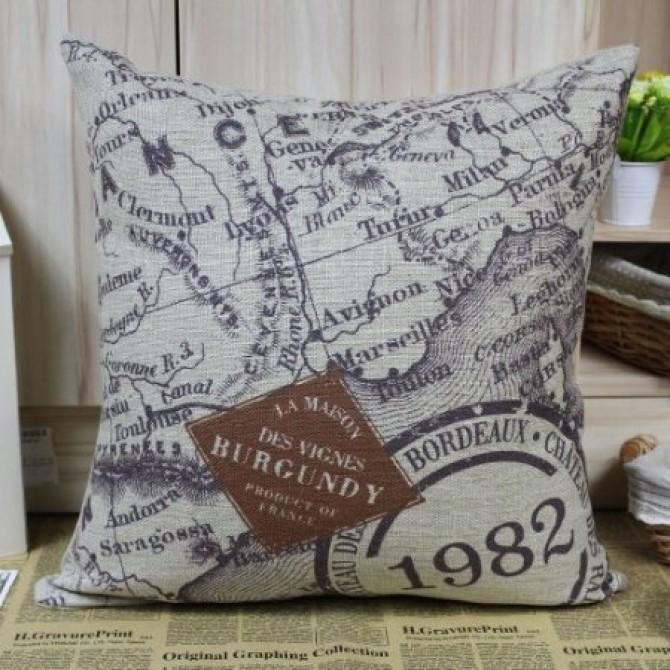 Burgundy 1982 Cushion Cover