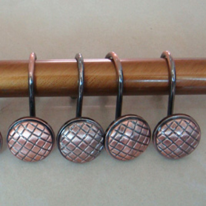 Vintage Checked Shower Curtain Hooks