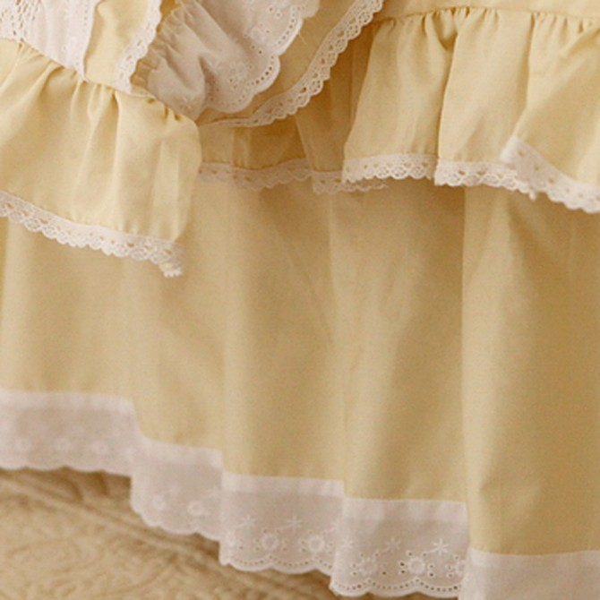 Yellow Lace Love Bedskirt