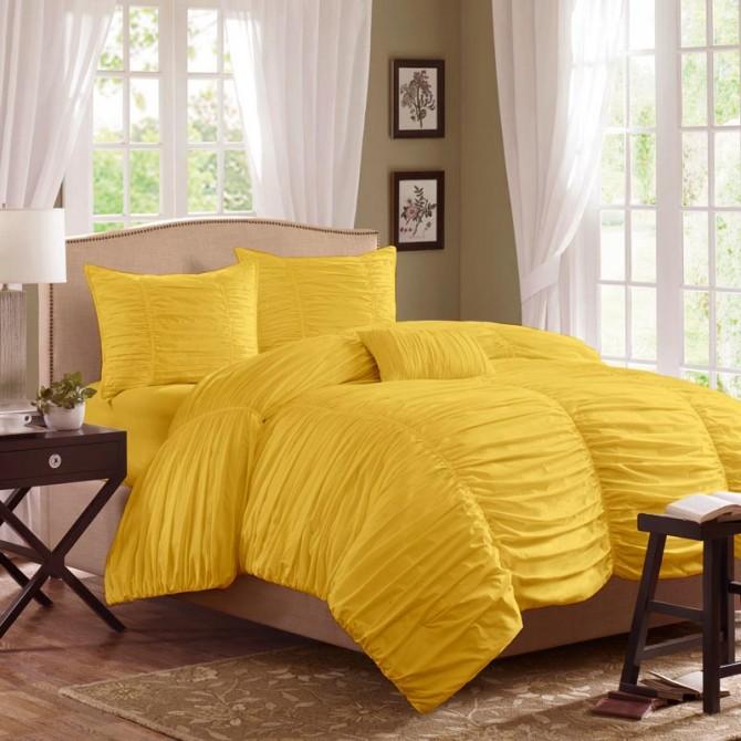 Horizon Ruched Bedding Set, Yellow