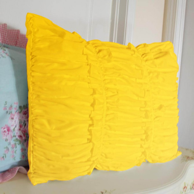 Yellow Ruched Pillow Sham