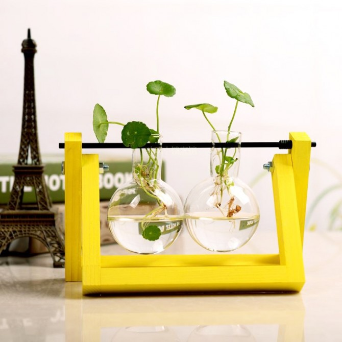 Yellow Flower Vase Hydroponic Planter