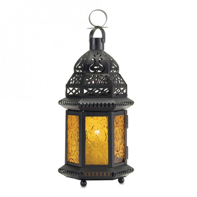 Yellow Glass Candle Lantern