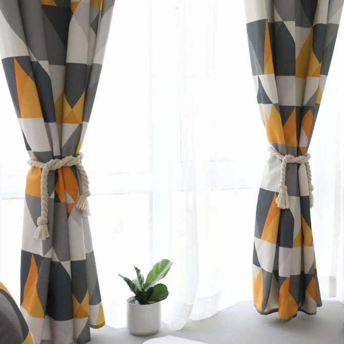 Yellow Geometry Triangle Curtain Set (pair)