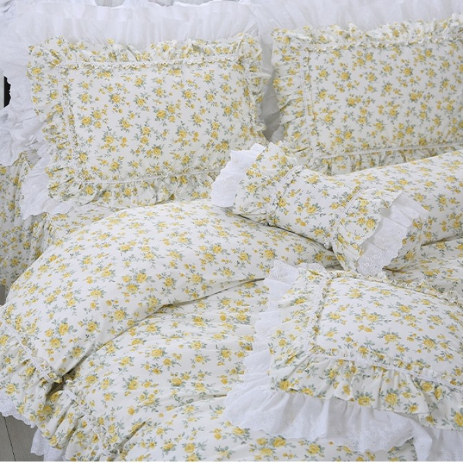 Double Ruffle Lace Duvet Cover Set- Yellow
