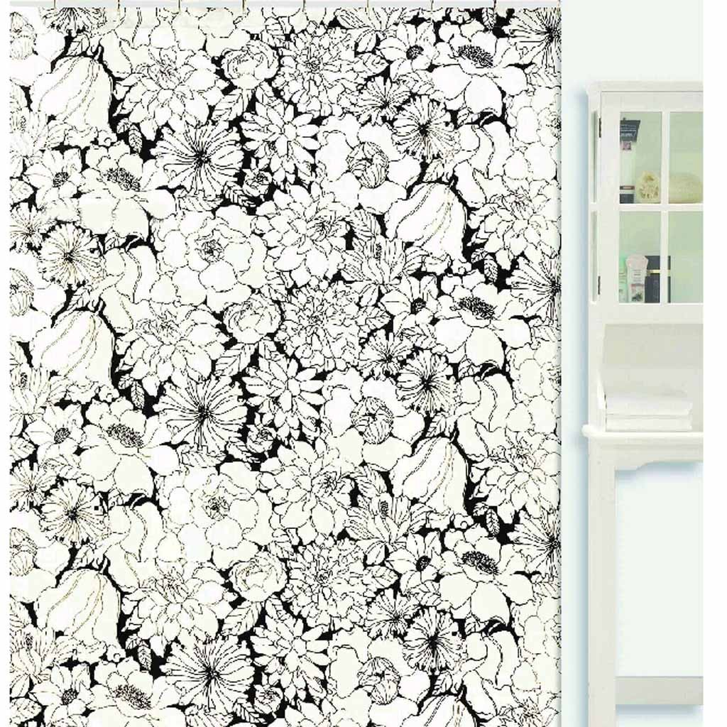 Charmant Black And White Floral Shower Curtain