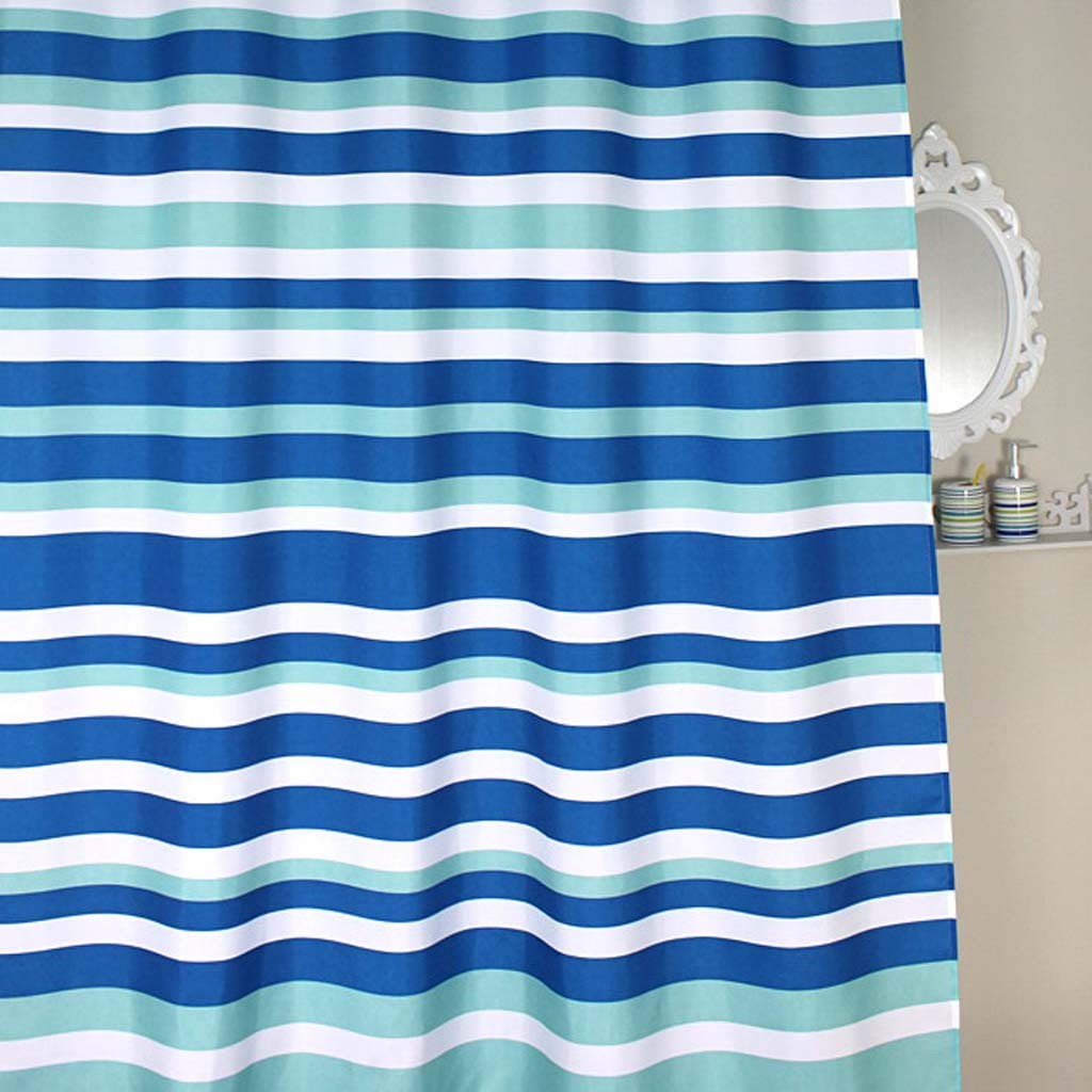 teal striped shower curtain.  Blue Stripe Shower Curtain