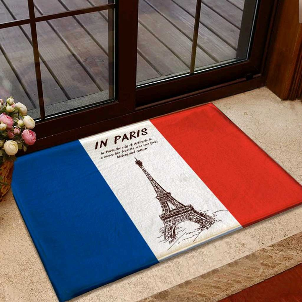 French Flag Eiffel Tower Doormat Rug