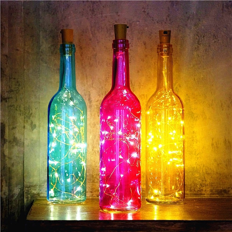 Glass Wine Bottle Table Lamp Night Light