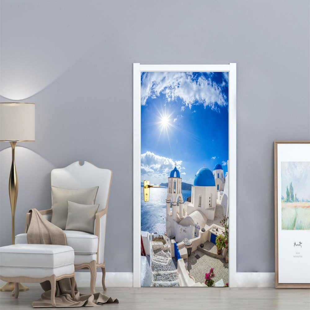 Greek Door Wall Sticker Poster