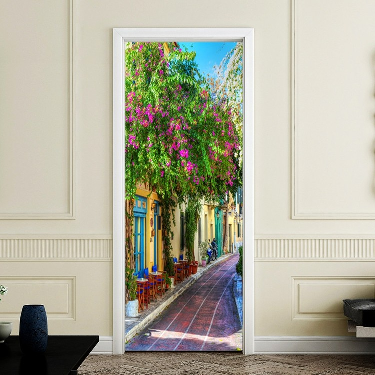 Greek Mediterranean Country Road Door Wall Mural Poster Decal