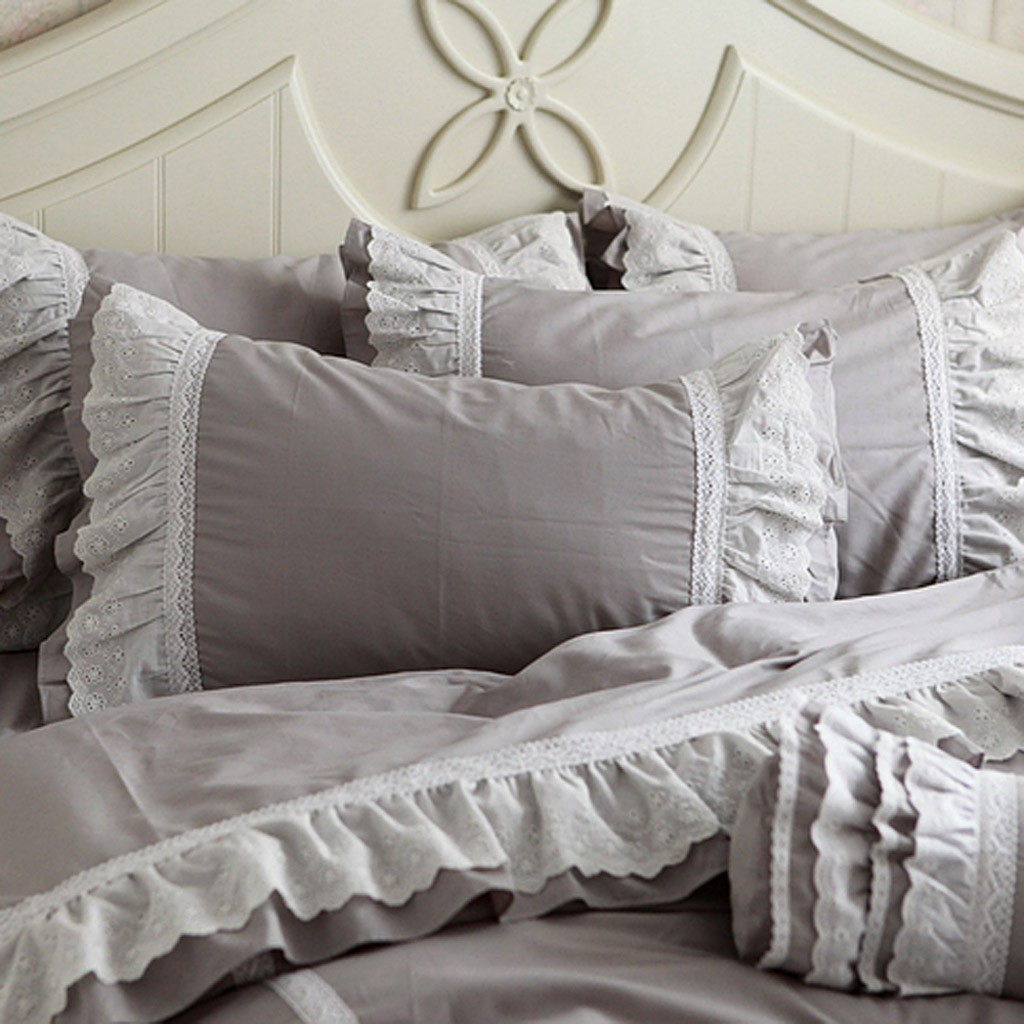 Attractive Grey Ruffle Queen Duvet Cover Set
