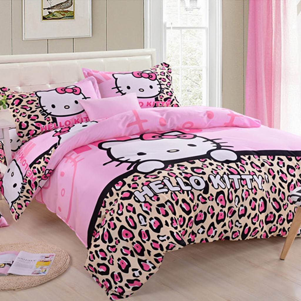 Pink hello kitty bedsheet - Hello Kitty Leopard Duvet Cover Set