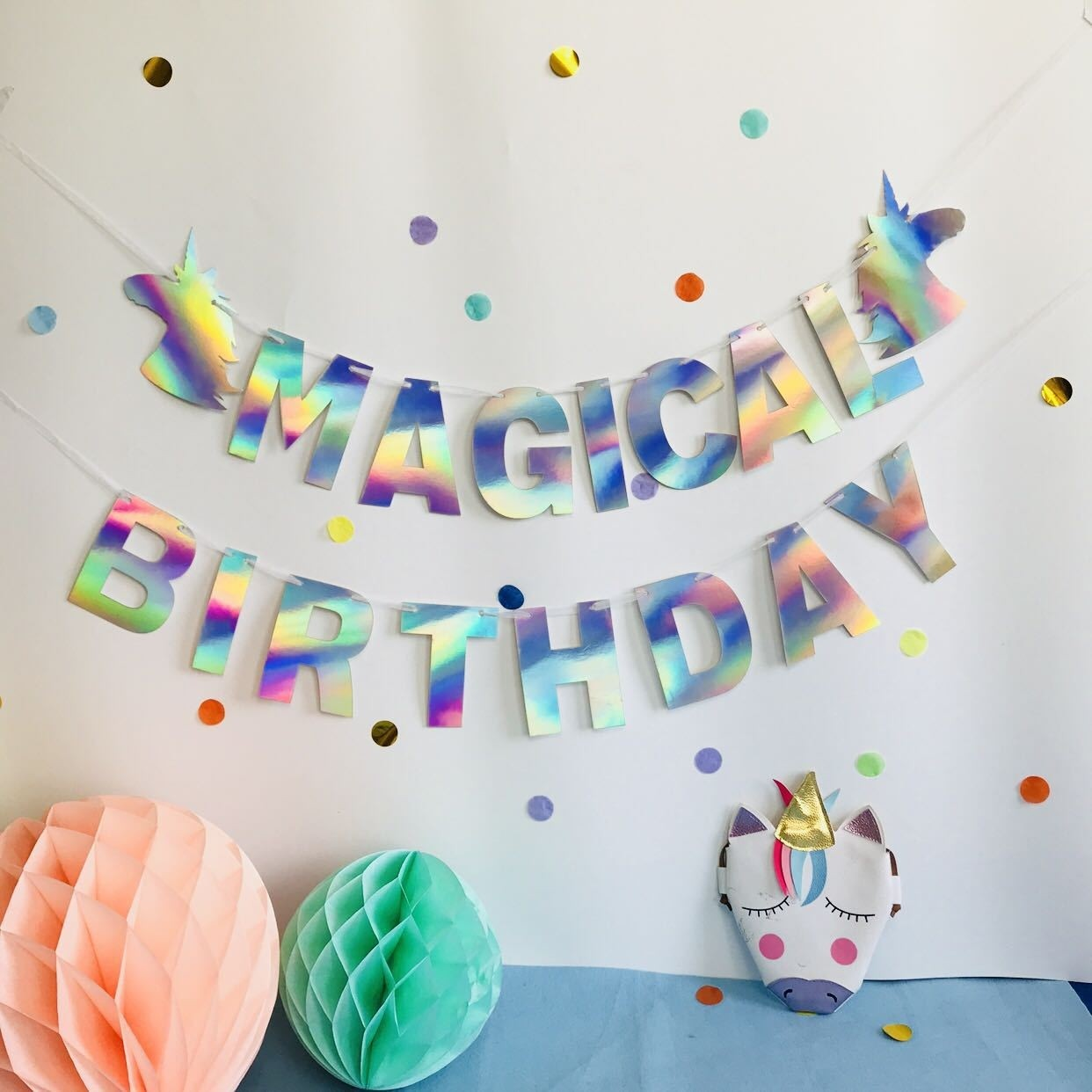 Holographic Silver Birthday Banner