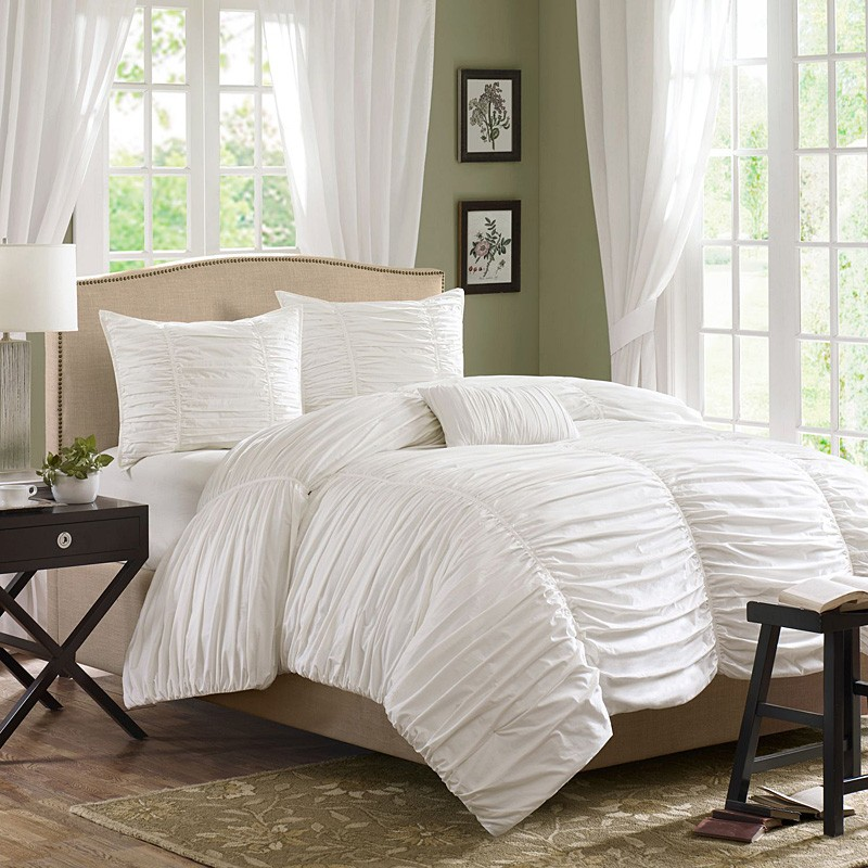 home horizon ruched bedding set white