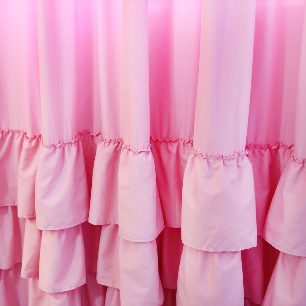 Bubble Gum Pink Ruffle Curtain Panel Clearance