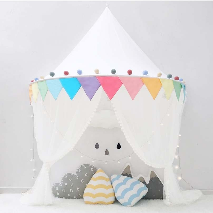 Kids Tent Canopy-Rainbow & BED Canopy CURTAIN tent
