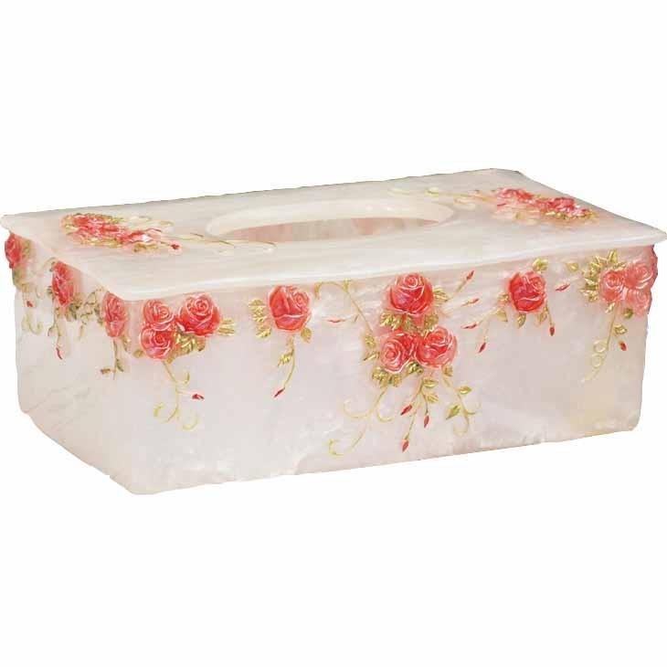 Shabby chic pink rose tissue box for Tissu shabby chic