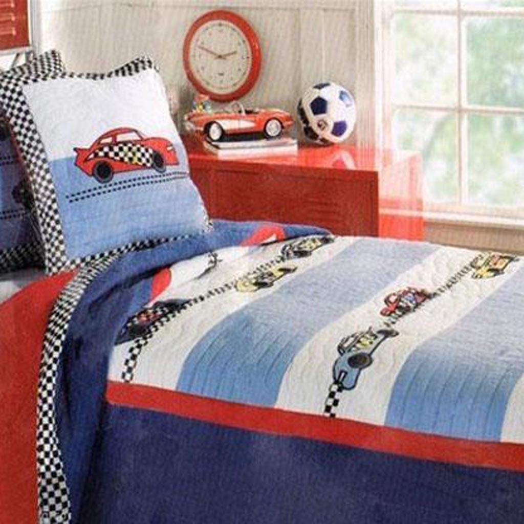 Custom shower curtain with valance - Home Boys Racing Car Quilt Bedding