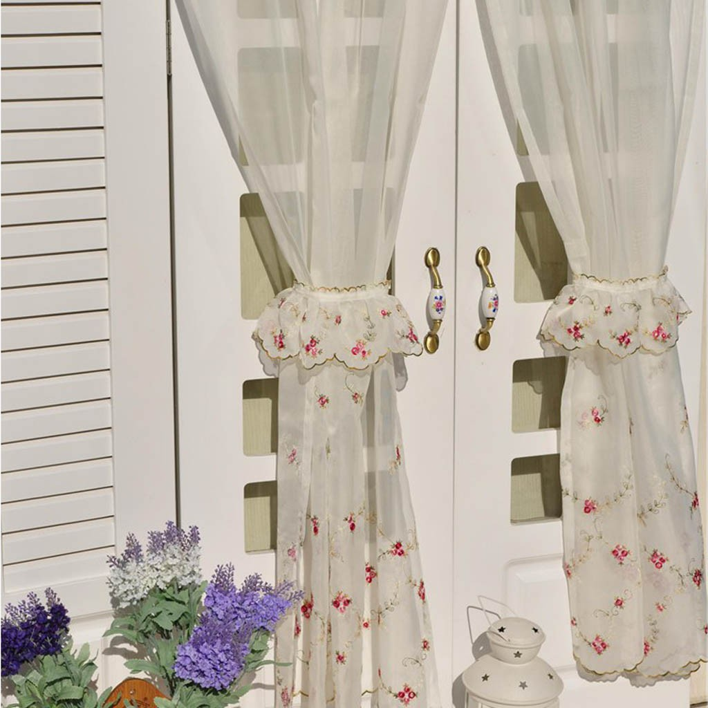 Romantic Roses Sheer Tiered Curtains