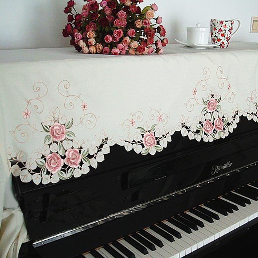 Pink Coupon Code >> Embroidery Rose Piano Cover