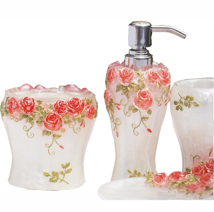 Red bathroom set for Floral bath accessories