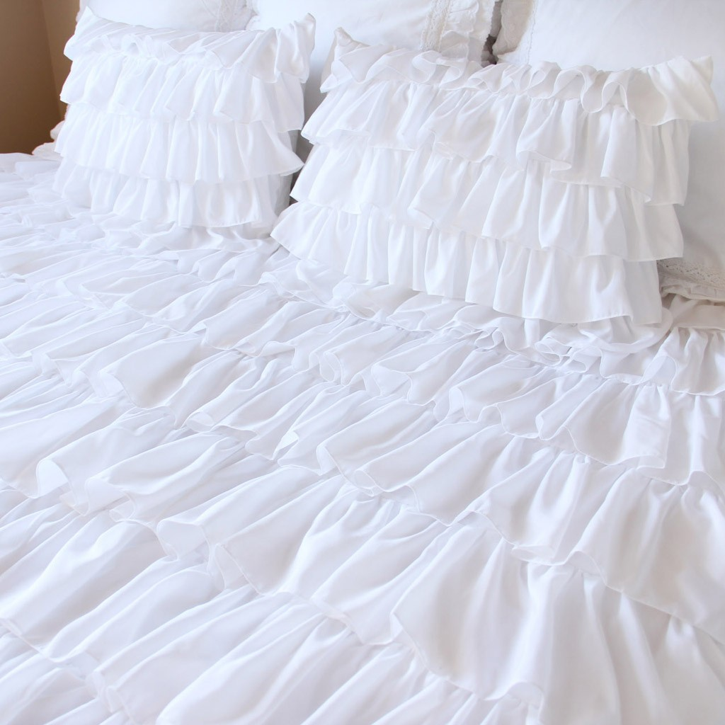 Twin white ruffle bedding - White Waterfall Ruffle Bedding Set