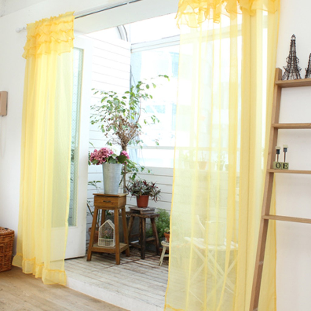 Ruffle Sheer Curtain Set Yellow